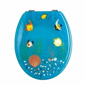 Polyresin Toilet Seat Ocean Floor Standard Round Chrome