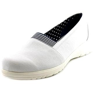 Beacon Jamie Gored Women N/S Round Toe Canvas White Loafer