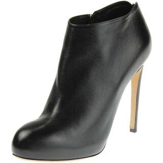 Salvatore Ferragamo Womens Rufia Leather Round Toe Booties - 7.5 wide (c,d,w)