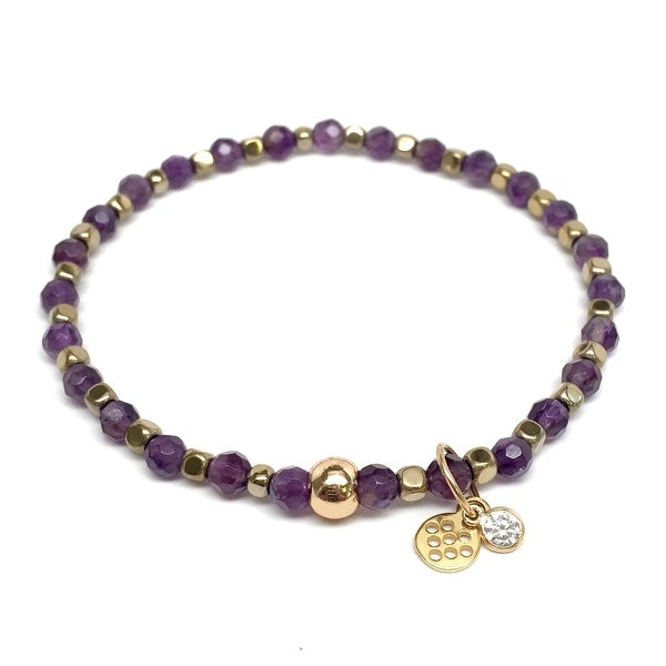 "Purple Amethyst Friendship 7"" Bracelet"
