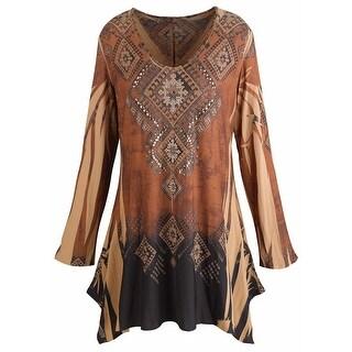 Women's Tunic Top - Mountain Spirit Vintage Pattern Brown Shirt