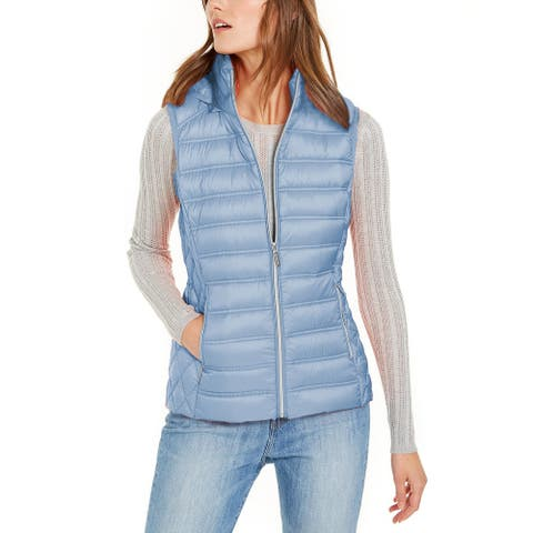 Michael Kors Womens Chambray Down Puffer Hooded Vest Jacket