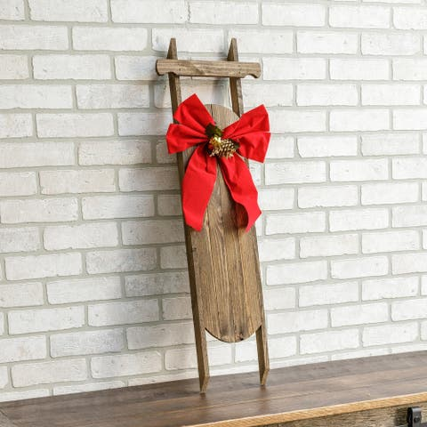 Poinsettia Decorative Wooden Christmas Sled