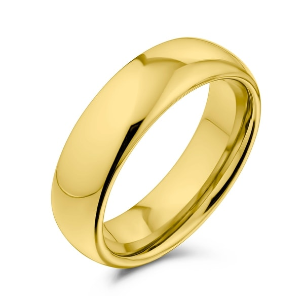 Plain Simple Dome Black Couples Wedding Band Titanium Rings 6MM. Opens flyout.