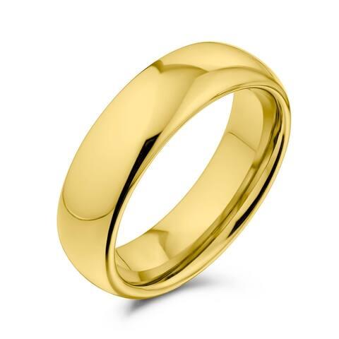 Plain Simple Dome Black Couples Wedding Band Titanium Rings 6MM