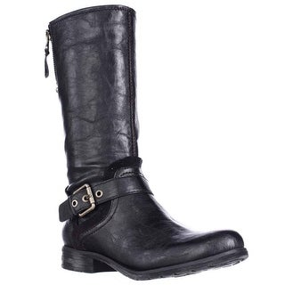 naturalizer Balada Mid Calf Motorcycle Boots - Black