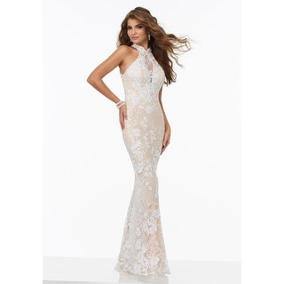 Lace Halter Neck Illusion Sheath