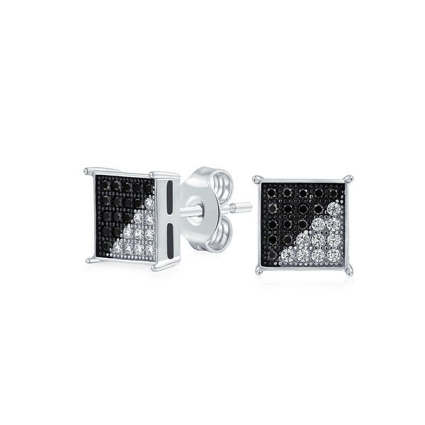 fb3650af00f82 Black White Cubic Zirconia Micro Pave CZ Square Stud Earrings For Men 925  Sterling Silver 8MM