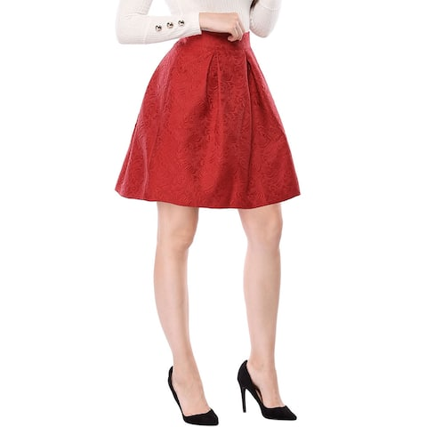 Women's Floral Jacquard High Waisted Pleated Flare Skirt - Red
