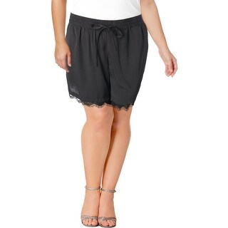 Junarose Womens Plus Casual Shorts Lace Trim Pull On - Black - 18