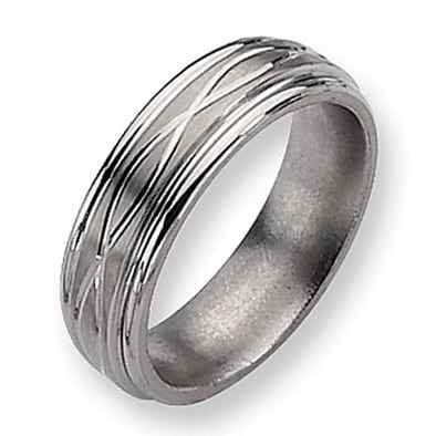 Chisel Brushed and Polished Titanium Ring (7.0 mm)