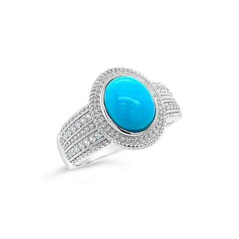 925 Sterling Silver Genuine Turquoise & White Zircon Wedding Ring for Women (Size : 5)