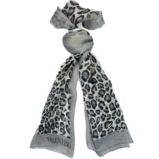 Valentino VS7018 4004 Col.3 Grey Animal Print Silk Ladies Scarves