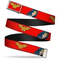 Wonder Woman Logo Fcg Red  Chrome Wonder Woman Logo Face Repeat Red Web Belt