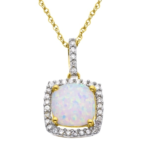 5/8 ct Created Opal Pendant with Diamond Accents in 10K Gold