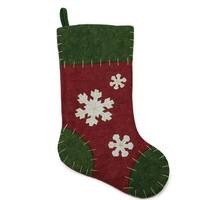 "20"" Green and Red Snowflake Applique Christmas Stocking with Blanket Stitching"