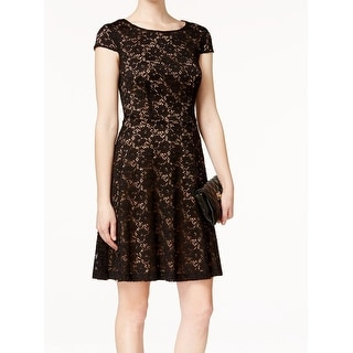 Connected Apparel NEW Black Crochet Lace Women's Size 12 Sheath Dress