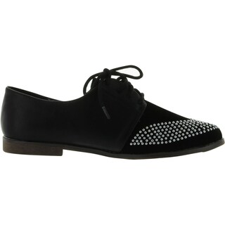Qupid Strip-85 Studded Two Tone Lace Up Colorblock Oxford Flat (More options available)