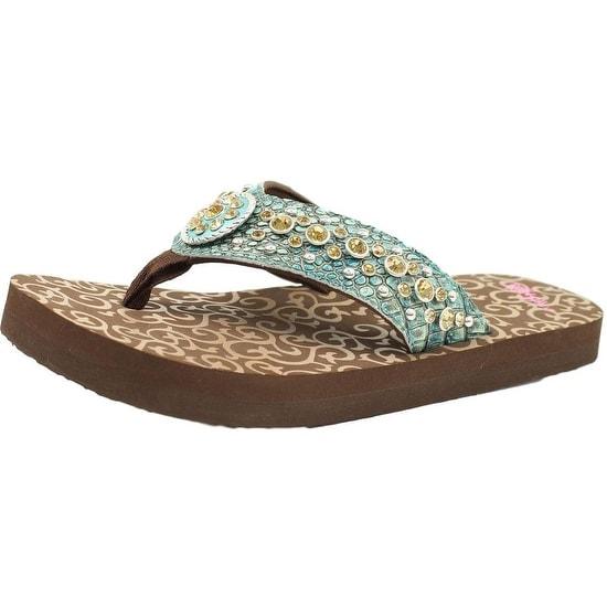 Blazin Roxx Western Shoes Womens Desinie Flip Flops Brown Turq