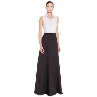 Badgley Mischka Belted Colorblock Shirt Evening Ball Gown Dress - 12