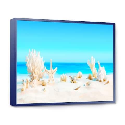 Designart 'Seashells on Tropical Beach' Seashore Photo Framed Canvas Print