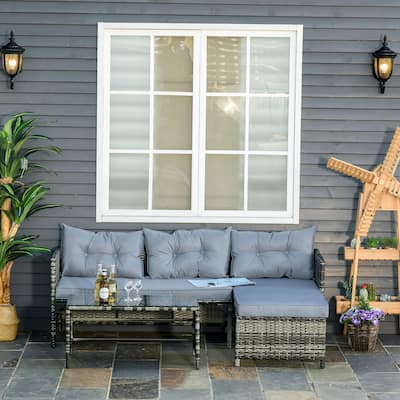 Outsunny 3-Piece Rattan Patio Furniture Sofa Set Lounge Chaise Cushioned for Garden Poolside or Porch Lounging