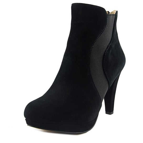 Adrienne Vittadini Pami Women Round Toe Leather Black Bootie
