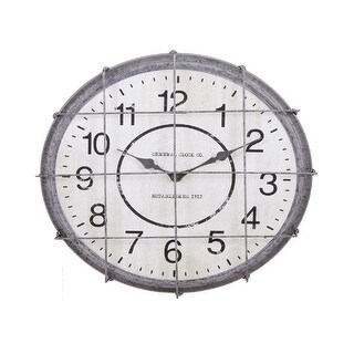 18 Cloud Gray Metal Vintage Right on Time Postal Caged Wall Clock