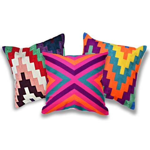 Handmade Set of 3 Modern and Bright Geometric Art Embroidery Pillow Cover (Thailand)