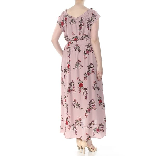 CITY CHIC Womens Pink Ruffled Tie Floral Cap Sleeve Maxi Dress Plus Size:  18W