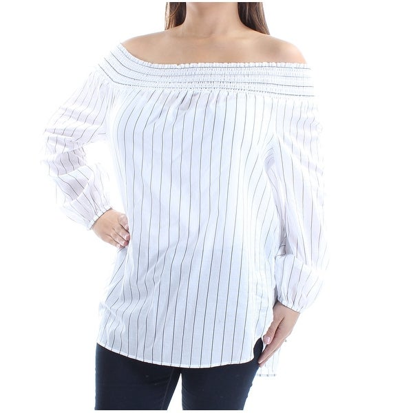 ad284297ef369 Shop MICHAEL KORS Womens White Striped Long Sleeve Off Shoulder Top Size  L  - Free Shipping On Orders Over  45 - Overstock - 22644835