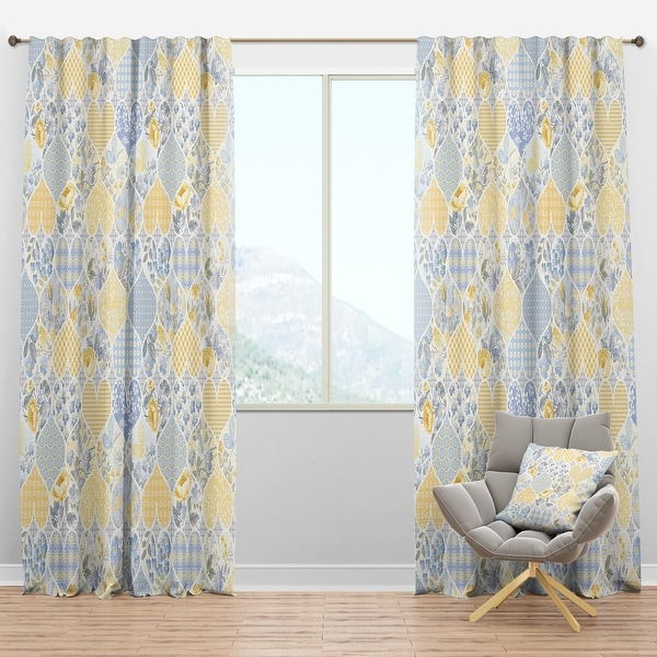 Designart 'Patchwork Pattern with Hearts' Patterned Blackout Curtain Panel. Opens flyout.