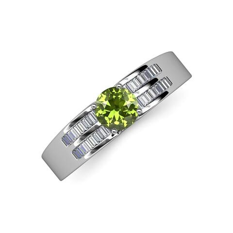 TriJewels Peridot Diamond 1 5/8 ctw Womens Engagement Ring 14K Gold