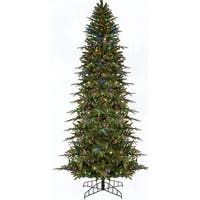 6' Pre-Lit Slim Palisade Artificial Christmas Tree - Multi LED Lights - green