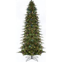 9' Pre-Lit Slim Palisade Artificial Christmas Tree - Multi LED Lights - green