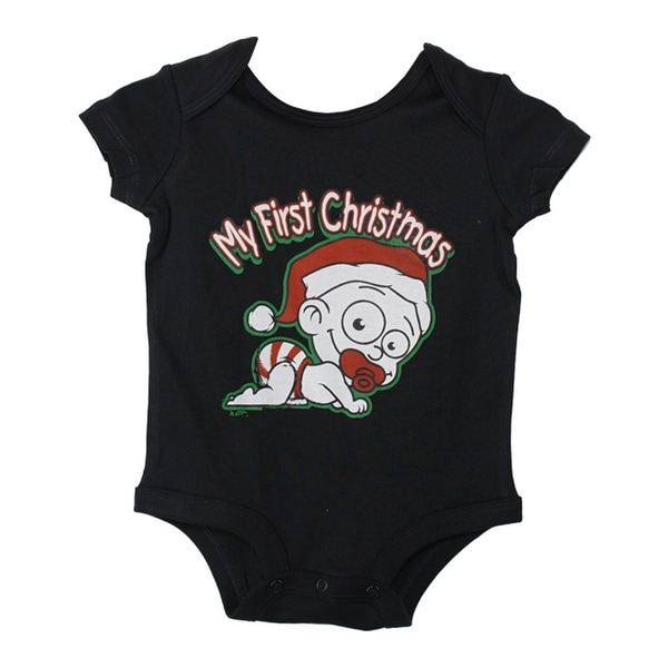 "Baby Unisex Black Red ""My First Christmas"" Print Cotton Bodysuit 3-24M"