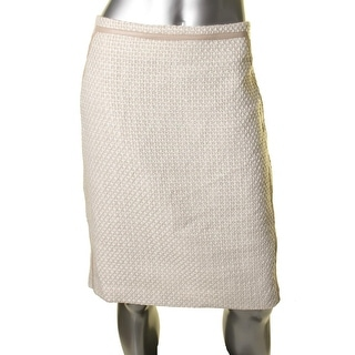 Calvin Klein Womens Tweed Faux Leather Pencil Skirt