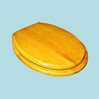 Bathroom Toilet Seat Golden Hard Wood Round PVD Brass Hinge Renovator's Supply