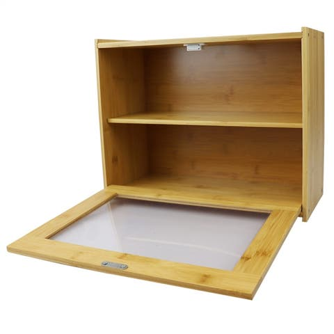 2 Tier Bamboo Bread Box with Peek-Through Acetate Window, Natural