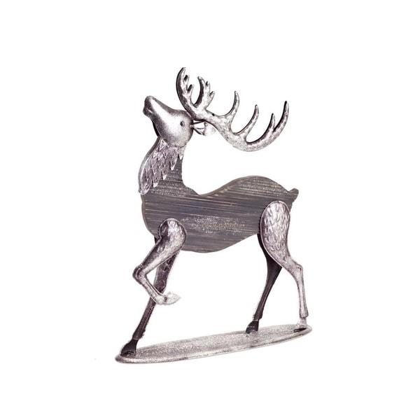"19"" Gray and Silver Colored Buck Reindeer Christmas Tabletop Figurine"