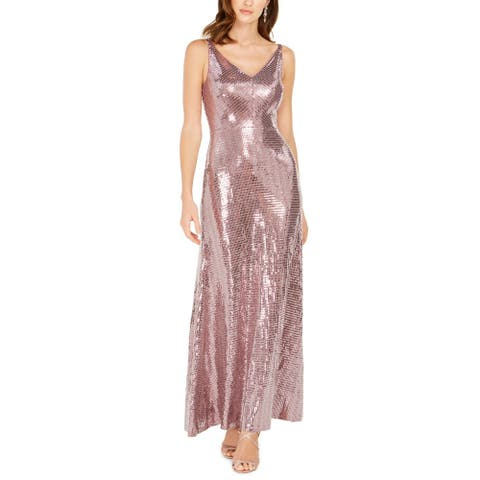 Night way Women's Double-V Mauve Pink Size 12 Sequined Dot Gown