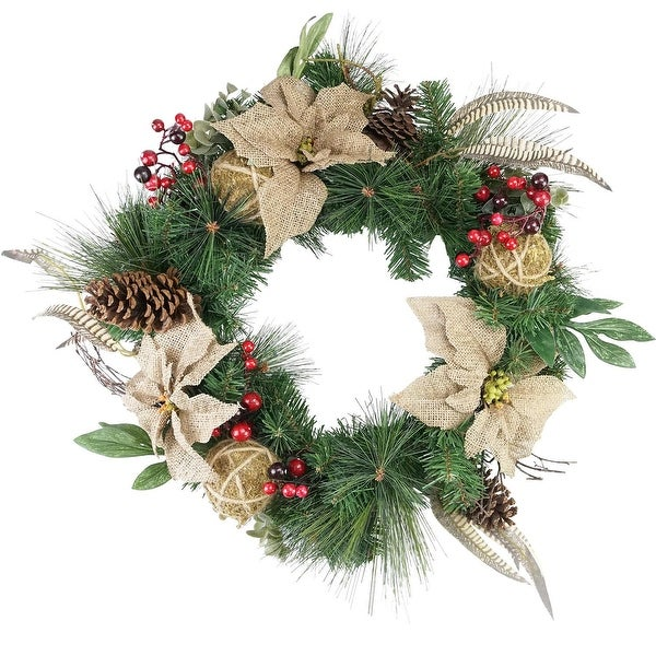 Mixed Pine Berry and Burlap Poinsettia Artificial Christmas Wreath, 24-Inch Unlit - green