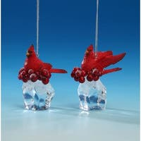 """Pack of 4 Clear and Red Cardinal Ice Cube Christmas Ornaments 3"""""""