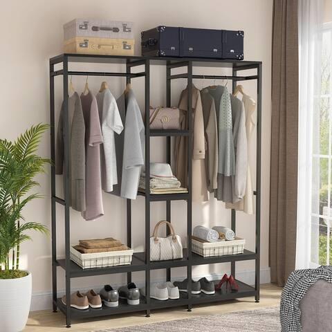 Free Standing Closet Organizer with Shelves & Rod