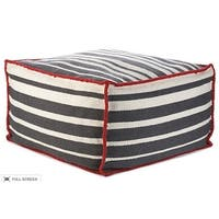 Vivai Home Grey Stripe Rectangle 24x 24x13 Wool Cotton Ottoman Cushion