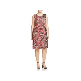 Nic + Zoe Womens Plus Casual Dress Etched Floral Print Knot Front