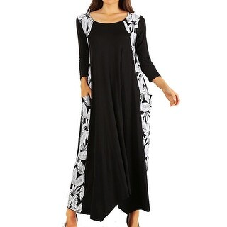 Funfash Plus Size Women Black White Floral Long Sleeve Maxi Long Dress