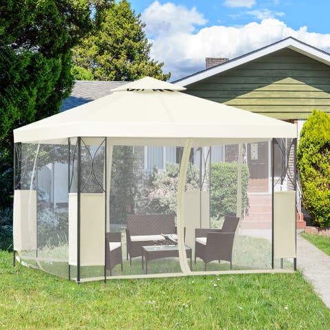 Costway 10'X10' Gazebo Canopy 2 Tier Tent Shelter Awning Steel