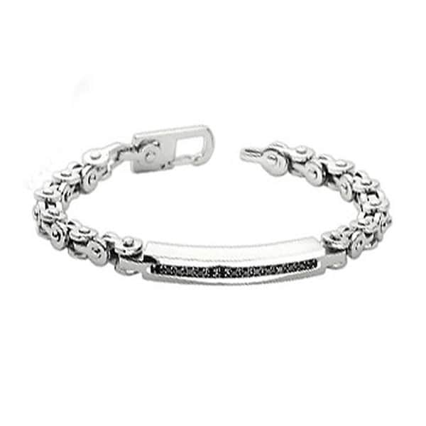 Stainless Steel Black Gem Inlayed Bracelet with Bicycle Links (6 mm) - 8.5 in