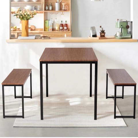3 Piece Kitchen Table Set with Two Benches Dining Room Table Set 3